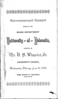 Commencement concert given by the Music Department, University of Nebraska, 1888