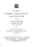 Lincoln U.S.O. Club formal dedication