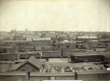 Panoramic view of C.B.&Q. Railroad yard and McCook, Nebraska