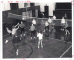 Nursing students playing volleyball in Bloom Hall, Immanuel Deaconess Institute