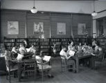 Children studying in the library